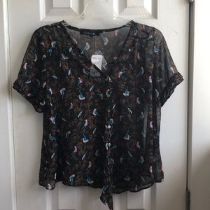 Forever 21 sheer bird print top